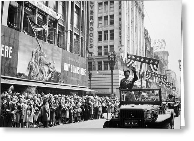 7th Greeting Cards - General Patton Ticker Tape Parade Greeting Card by War Is Hell Store