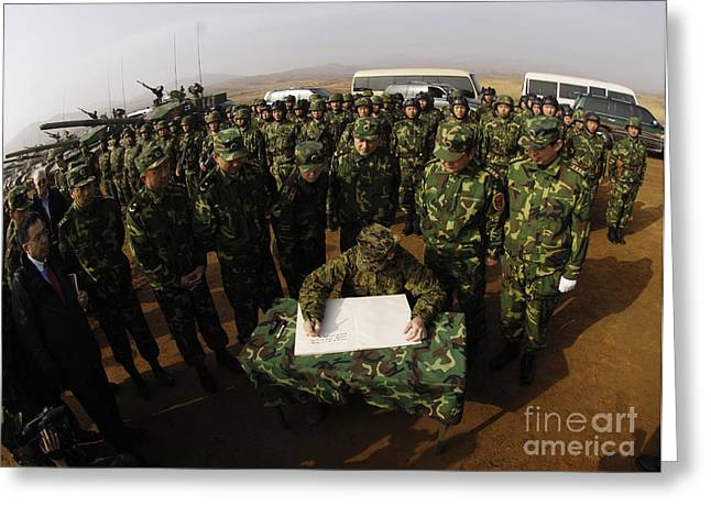 Liberation Greeting Cards - General Peter Pace Signs A Message Greeting Card by Stocktrek Images