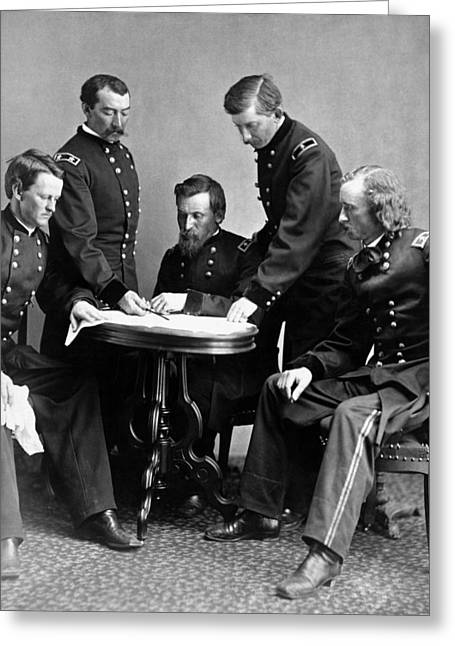 General Custer Greeting Cards - General Philip Sheridan And His Staff  Greeting Card by War Is Hell Store