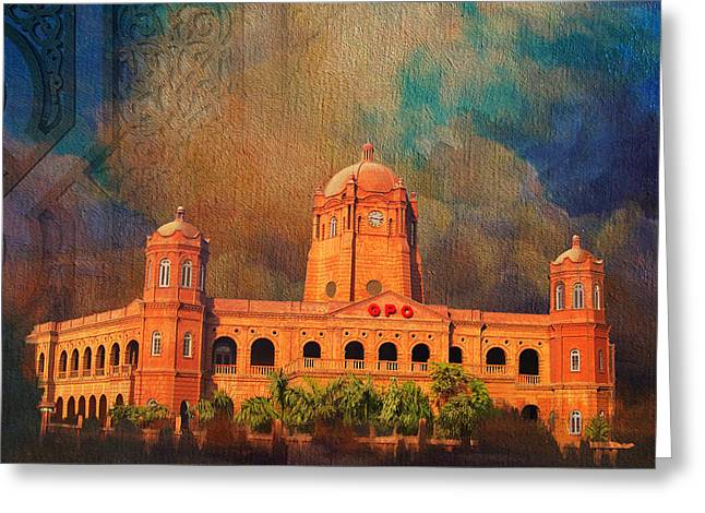 Karachi Lahore Greeting Cards - General Post Office Lahore Greeting Card by Catf