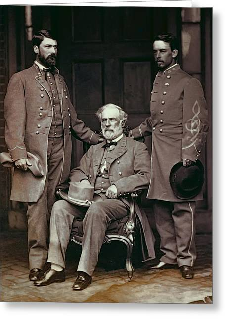 Slavery Greeting Cards - GENERAL ROBERT E. LEE and STAFF  1865 Greeting Card by Daniel Hagerman