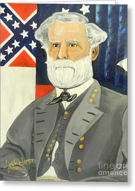 Confederate Flag Paintings Greeting Cards - General Robert E. Lee Greeting Card by Joseph Anderson