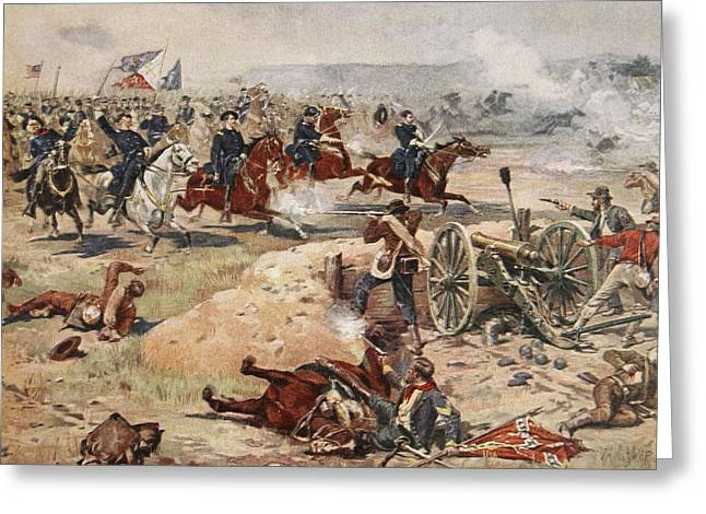 Cannon Drawings Greeting Cards - General Sheridans Final Charge Greeting Card by Henry Alexander Ogden