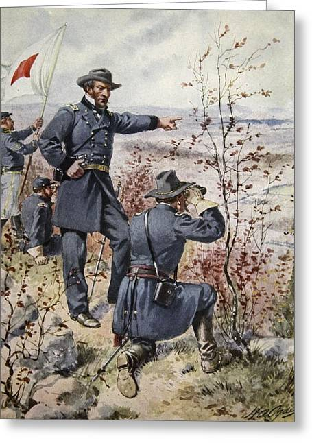 Recently Sold -  - Surveying Greeting Cards - General Sherman At Kenesaw Mountain Greeting Card by Henry Alexander Ogden