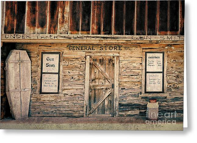 Rusty Tin Roof Greeting Cards - General Store Greeting Card by Betty LaRue