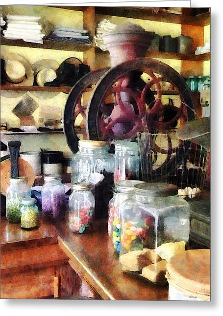 Egg Greeting Cards - General Store With Candy Jars Greeting Card by Susan Savad