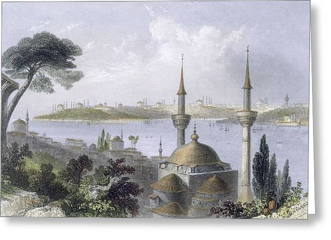 Istanbul Greeting Cards - General View Of Constantinople Greeting Card by William Henry Bartlett