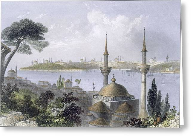 General View Of Constantinople Greeting Card by William Henry Bartlett