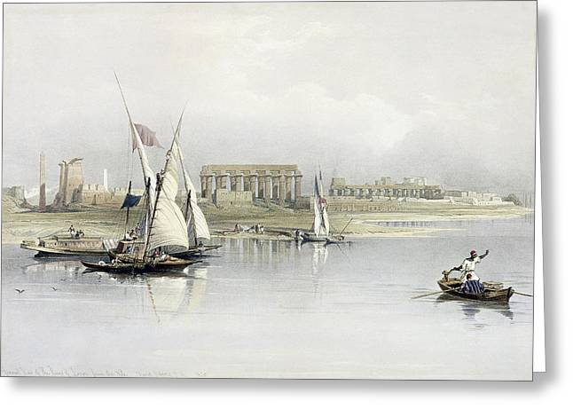 Docked Boats Greeting Cards - General View of the Ruins of Luxor from the Nile Greeting Card by David Roberts