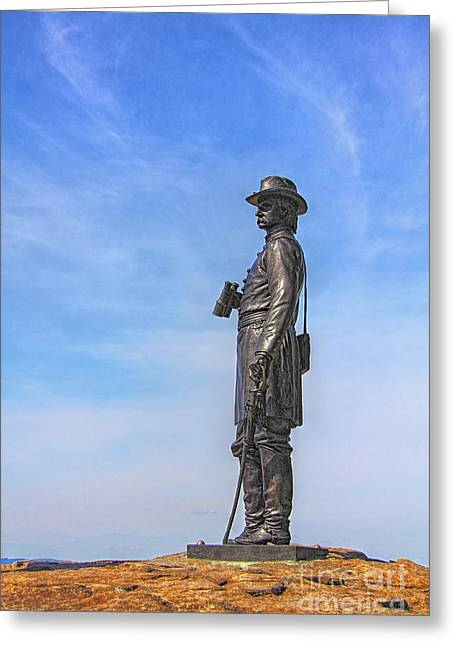 Statue Of Confederate Soldier Greeting Cards - General Warren Statue at Gettysburg Greeting Card by Randy Steele