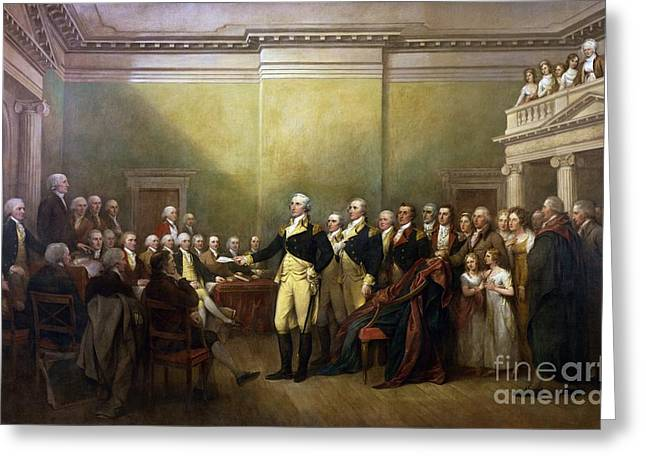 Resigned Greeting Cards - General Washington Resigning his Commission Greeting Card by Pg Reproductions