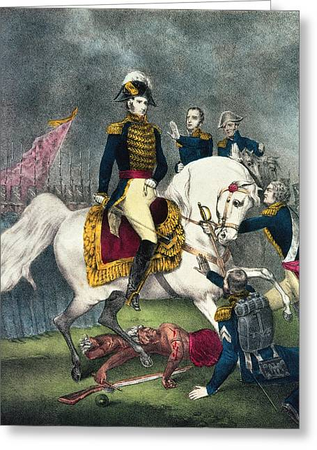 Bravery Greeting Cards - General William H. Harrison 1773-1841 At The Battle Of Tippecanoe, 1840 Colour Litho Greeting Card by N. Currier