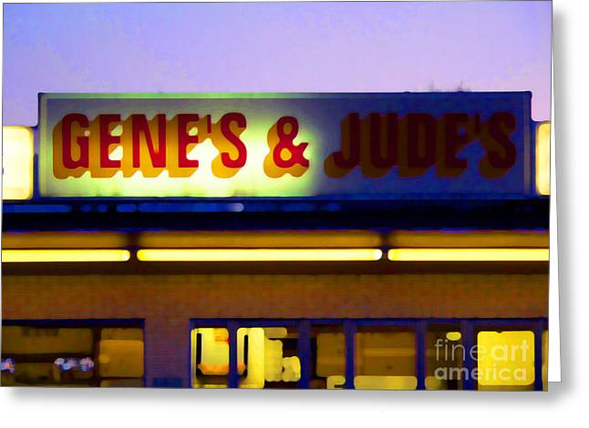 Hot Dog Stand Greeting Cards - Genes  and Judes Greeting Card by David Bearden
