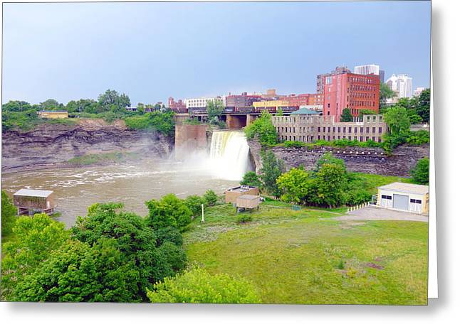 Rochester Skyline Greeting Cards - Genesee River Falls Greeting Card by Valentino Visentini