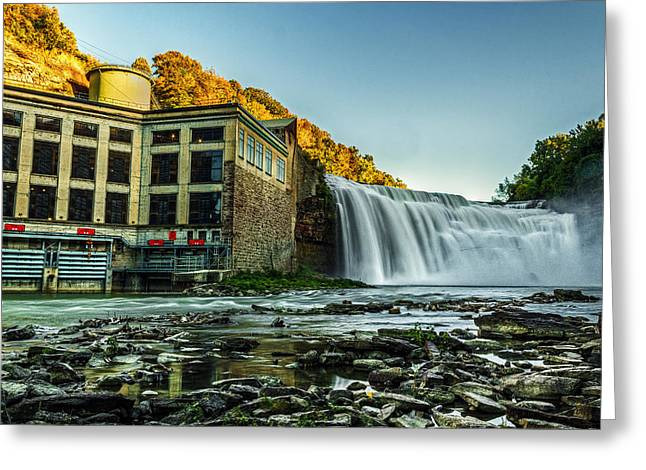 High Falls Gorge Greeting Cards - Genesee River Waterfall 2 Greeting Card by Tim Buisman