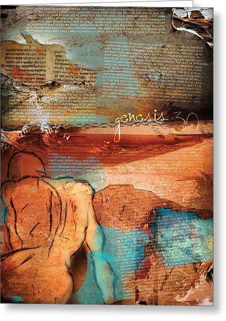 Testament Greeting Cards - Genesis 30 Greeting Card by Switchvues Design