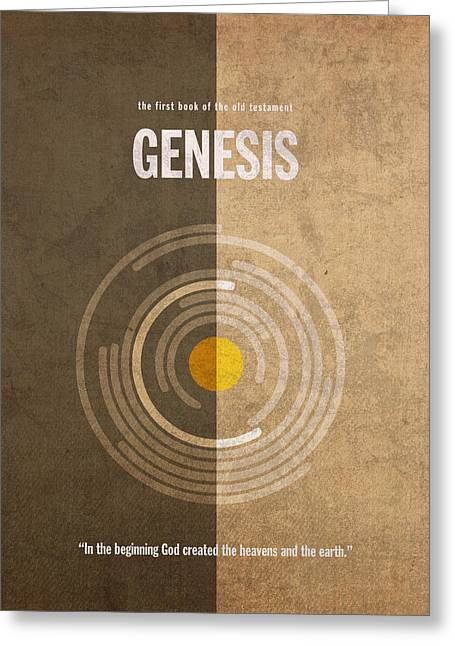 Genesis Greeting Cards - Genesis Books of the Bible Series Old Testament Minimal Poster Art Number 1 Greeting Card by Design Turnpike