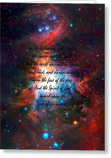 Observer Mixed Media Greeting Cards - Genesis Chapter 1 verses 1 and 2 VISTA Telescopes Infrared View Orion Nebula Greeting Card by L Brown