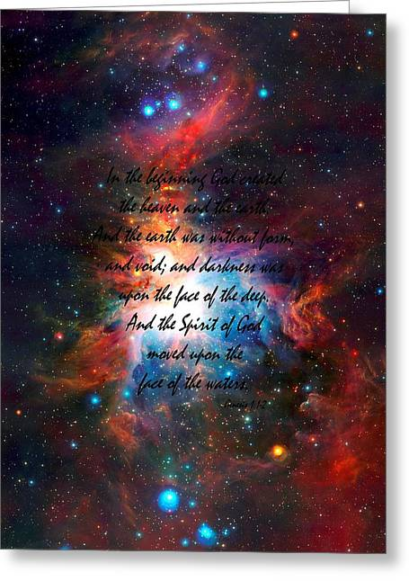 Genesis Chapter 1 Verses 1 And 2 Vista Telescope's Infrared View Orion Nebula Greeting Card by L Brown