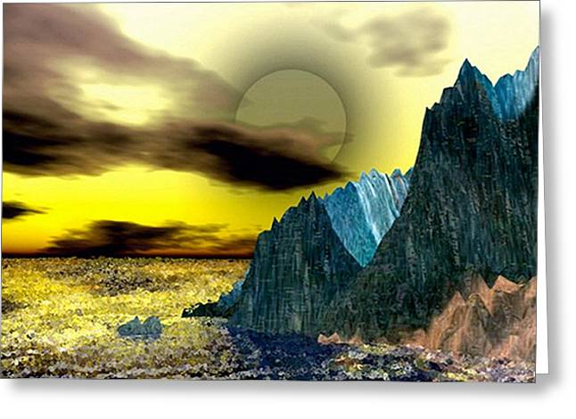 Fractal Eclipse Greeting Cards - Genesis Dawn Greeting Card by Rebecca Phillips