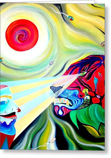 Fertilization Paintings Greeting Cards - Genesis Greeting Card by Joselo Ortiz