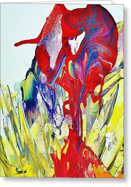 Red Abstracts Greeting Cards - Genetically Modified Tulip                   2008-09-19 2008-09-19 001 024 Greeting Card by Bruce Combs - REACH BEYOND