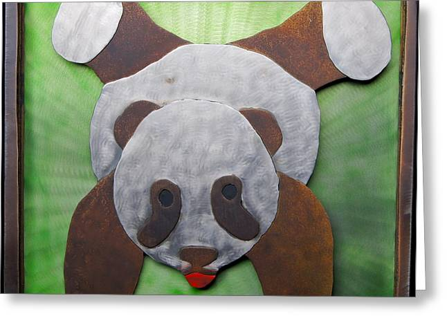 Fun Reliefs Greeting Cards - Genevieves Handstand Panda Greeting Card by Chip Vander Wier