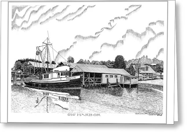 Fishing Boats Drawings Greeting Cards - Fishing Trawler Genius formaly of Gig Harbor Greeting Card by Jack Pumphrey