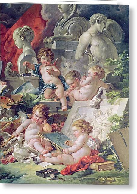 Music Sculpture Greeting Cards - Genius Teaching The Arts, 1761 Oil On Canvas Detail Greeting Card by Francois Boucher