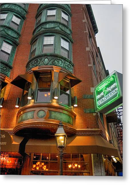 Italian Restaurant Greeting Cards - Gennaros 5 North Square - Boston Greeting Card by Joann Vitali