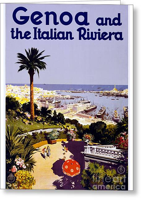 Genoa Paintings Greeting Cards - Genoa and the Italian Riviera - travel poster for ENIT - 1931 Greeting Card by Pablo Romero