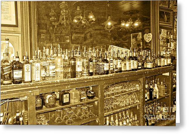 Old Fashoined Photographs Greeting Cards - Genoa Bar Oldest Saloon in Nevadas Old West History Greeting Card by Artist and Photographer Laura Wrede