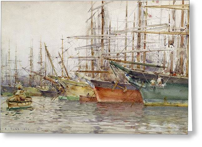 Genoa Paintings Greeting Cards - Genoa Harbour, 1904 Greeting Card by Henry Scott Tuke