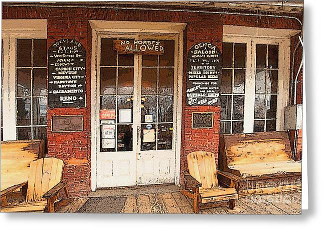Genoa Bar Greeting Cards - Genoa Saloon Oldest Saloon in Nevada Greeting Card by Artist and Photographer Laura Wrede