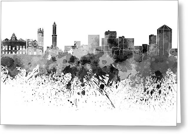 Genoa Paintings Greeting Cards - Genoa skyline in black watercolor on white background Greeting Card by Pablo Romero