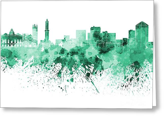Genoa Paintings Greeting Cards - Genoa skyline in green watercolor on white background Greeting Card by Pablo Romero