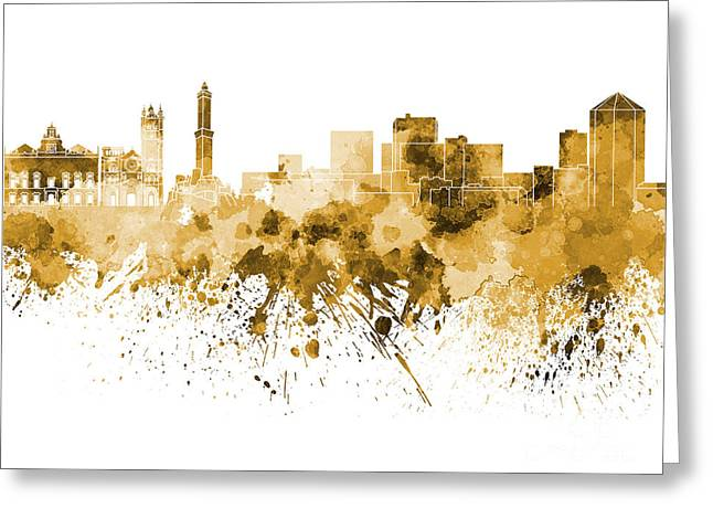 Genoa Paintings Greeting Cards - Genoa skyline in orange watercolor on white background Greeting Card by Pablo Romero