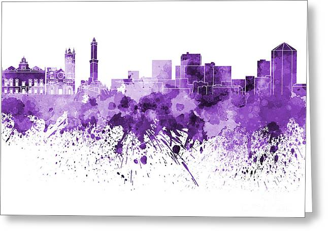 Genoa Paintings Greeting Cards - Genoa skyline in purple watercolor on white background Greeting Card by Pablo Romero
