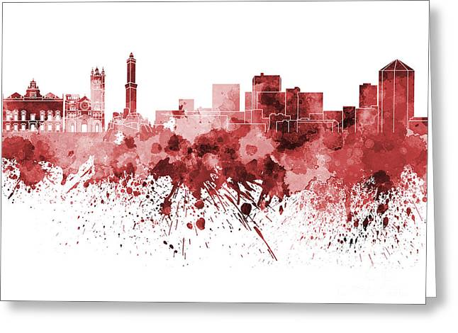 Genoa Paintings Greeting Cards - Genoa skyline in red watercolor on white background Greeting Card by Pablo Romero