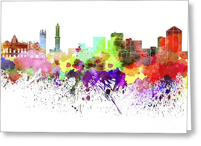 Genoa Paintings Greeting Cards - Genoa skyline in watercolor on white background Greeting Card by Pablo Romero