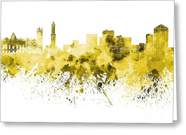 Genoa Paintings Greeting Cards - Genoa skyline in yellow watercolor on white background Greeting Card by Pablo Romero
