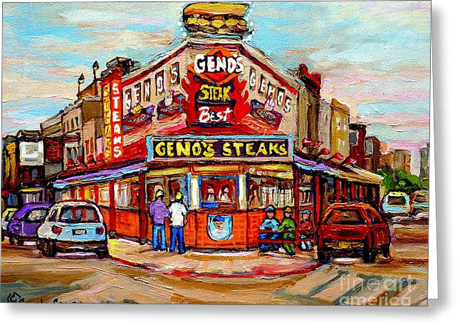 Italian Market Greeting Cards - Genos Steaks Philadelphia Cheesesteak Restaurant South Philly Italian Market Scenes Carole Spandau Greeting Card by Carole Spandau