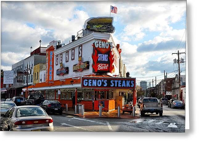 South Philadelphia Greeting Cards - Genos Steaks - The Best Greeting Card by Bill Cannon