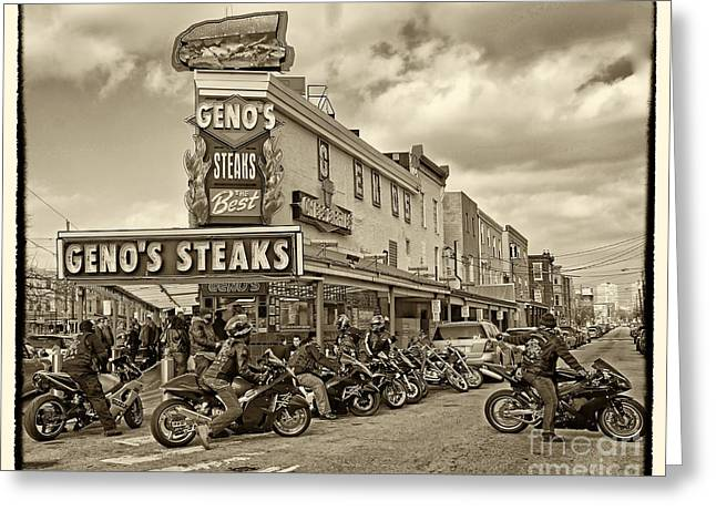 Italian Market Photographs Greeting Cards - Genos with Cycles Greeting Card by Jack Paolini