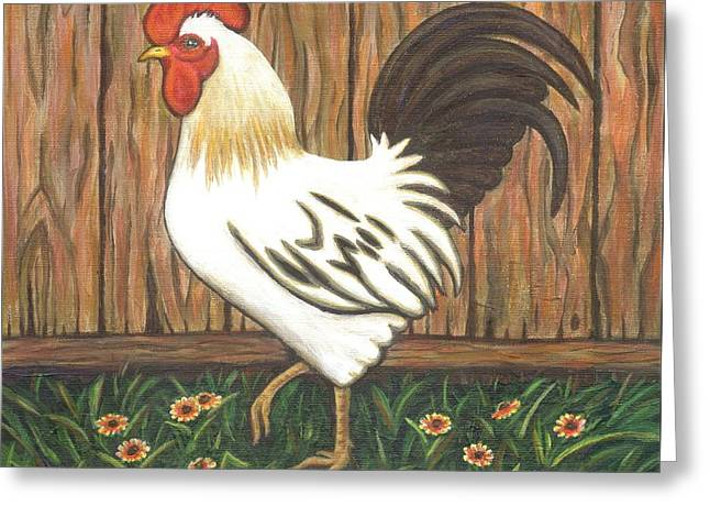 Roosters Greeting Cards - Gent the Rooster Greeting Card by Linda Mears