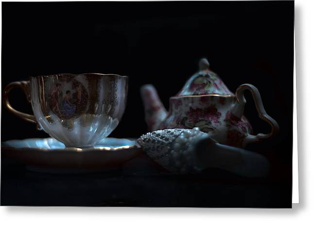 Cup And Saucer Greeting Cards - Genteel Greeting Card by Camille Lopez