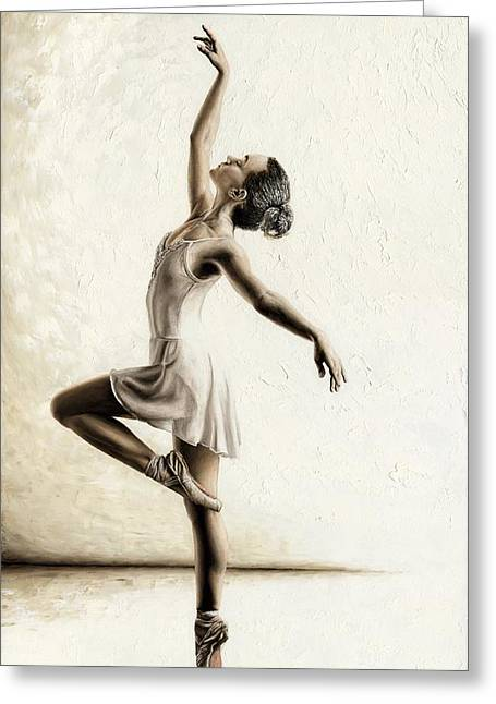 White Dress Paintings Greeting Cards - Genteel Dancer Greeting Card by Richard Young