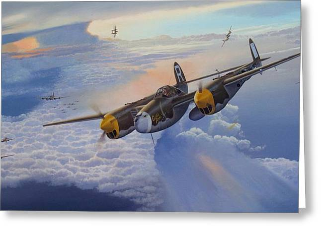 Military Airplanes Paintings Greeting Cards - Gentle Annie Greeting Card by Steven Heyen