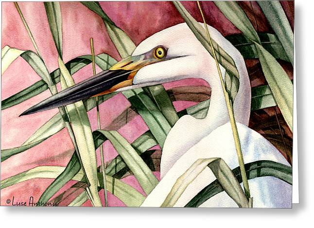 Egret Greeting Cards - Gentle Breeze Greeting Card by Lyse Anthony