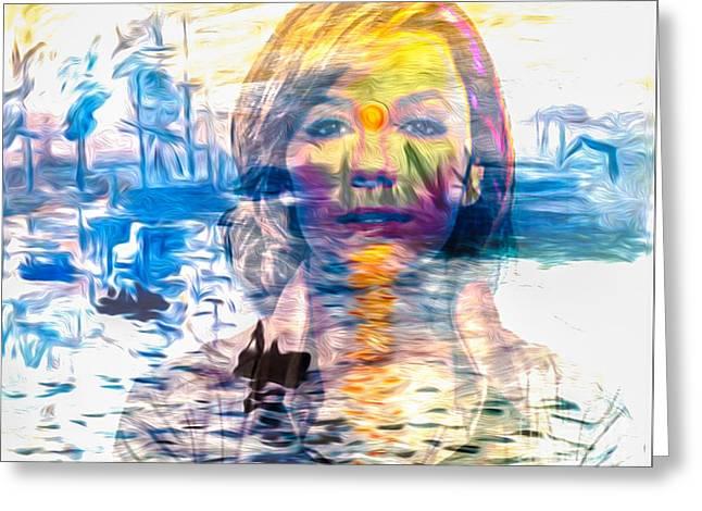 Eva Longoria Greeting Cards - Gentle Colorful Eva Longoria in Monets Overlay Greeting Card by Algirdas Lukas